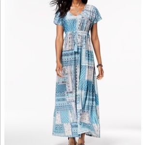 NWT Style &Co. Printed Drawstring Maxi Dress, 1X